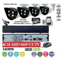 KIT1HD/  1xDVR 4 Canale ANALOG HD-L model AHD3004  si 4 X camere Analog HD 720P(1MP)  model UV-AHDBX607 de interior/exterior