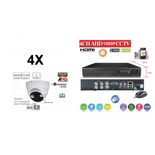 KIT43HD/  1xDVR 4 Canale ANALOG HD-L model AHD2004Z  si 4 X camere Analog HD 1080P(2MP)  model UV-AHDDP314 de interior