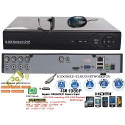 MHK-6104HV/ Tribrid DVR/HVR/NVR cu 4 canale compatibil cu camerele AHD-M 720P și 960P (1 și 1,3 Mpixeli)