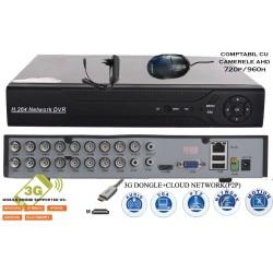 MHK-8116HV/ Tribrid DVR/HVR/NVR cu 16 canale compatibil cu camerele AHD 720P și 960P, 1 și 1,3 Mpixeli
