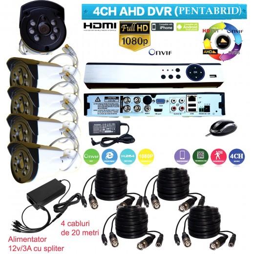 AHD-K301 KIT SUPRAVEGHERE DVR+4 CAMERE DE INTERIOR/ EXTERIOR AHD LA 2 MPIXELI