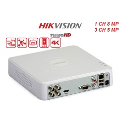 DS-7104HUHI-K1/ DVR HIKVISION cu 4 canale video 8 MP (un canal) și 1 canal audio, H.265 Pro +