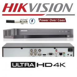 DS-7204HUHI-K1-P/ DVR HIKVISION cu 4 canale video 5 MP și 1 canal audio, compresie H265+ cu alimentare POC pentru camere