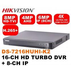 DS-7216HUHI-K2/ DVR HIKVISION cu 16 canale video 8 MP și 4 canale audio, H.265 Pro +