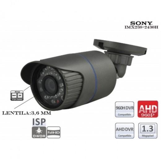 EAHD130-IR24/ Cameră de supraveghere AHD (1,3 Mpixeli/960P) de interior/exterior cu vedere de noapte până la 10 m și lentilă fixă de 3,6 mm