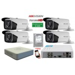 Kit Supraveghere FULL-HD 4 Camere IR 40 Metri HIKVISION+ HDD 1 Tera