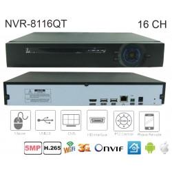 NVR-8116QT  NVR 16 canale H.265 pentru camere cu IP pana la 5Mpixeli
