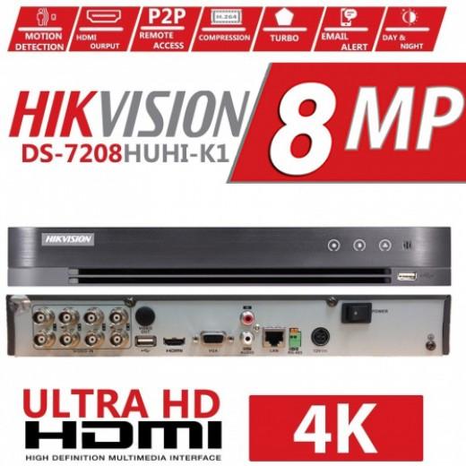 DS-7208HUHI-K1-E/ DVR HIKVISION cu 8 canale video 8 Mp și 1 canal audio