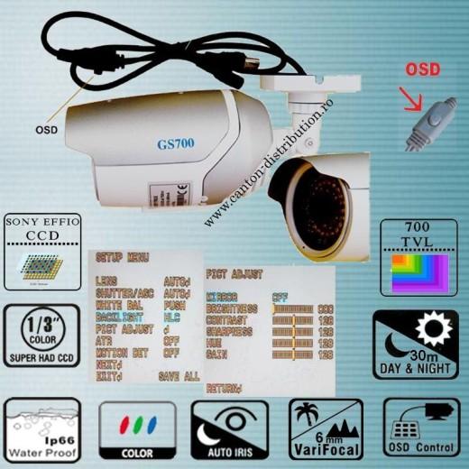 GS700T117IR52/ Cameră de supraveghere analogica color de exterior cu lentilă reglabilă fixa