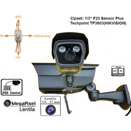 UV-HDBZ908 Camera supraveghere 4-in 1  AHD / TVI / CVI/ CVBS  (3 Mpixeli)de exterior pentru 25-30 metri pe timp de noapte si lentila reglabila 2,8-12 mm