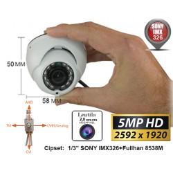 UV-HDDG430 Minidome de supraveghere 4 în 1 AHD/TVI/CVI/CVBS  (5 Mpixeli) de exterior/interior pentru 15 metri pe timp de noapte cu cipset SONY