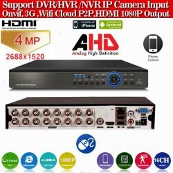 XVR4016L/ PENTABRID DVR: 16 canale:4MP(2688*1520, 3 MP AHD (2048*1536)/ IP: 4*5MP/ ANALOG: 8*960H/ 8*TVI 1080P( acest DVR lucreaza foarte bine cu camerele AHD-de 3 si 4 MP)