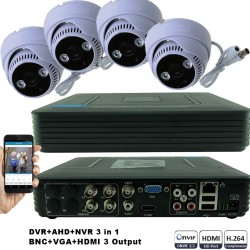 KIT1-HD/ 1xDVR 4 canale AHD-L MHK-1104HV si 4 X camere AHD 720P(1MP) model UV-AHDDX314 de interior