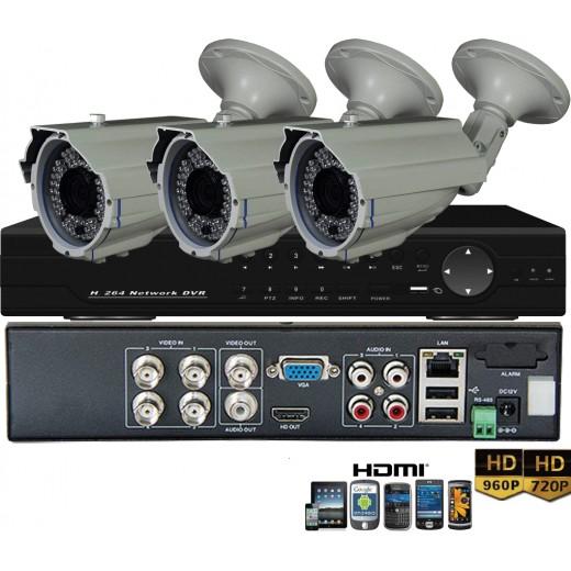 KIT8-HD/ 1xDVR 4 canale AHD-L MHK-6104HV- 3 X camere  AHD 960P(1.3MP) model EAHD130-T169IR36 de exterior cu lentila reglabila 2.8-12 mm