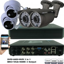KIT2-HD/ 1xDVR 4 canale AHD-L MHK-1104HV- 2 X camere AHD 720P(1MP) model UV-AHDBX708 de exterior cu lentila reglabila 2.8-12 mm 2 Xc amere AHD 720P(1MP) model UV-AHDDX314 de interior