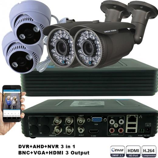 KIT2-HD/ 1xDVR 4 canale AHD-L MHK-1104HV- 2 X camere AHD 720P(1MP) model UV-AHDBX708 de exterior cu lentila reglabila 2.8-12 mm 2 Xc amere AHD 720P(1MP) model UV-AHDDX314 de interior