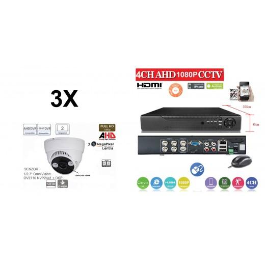 KIT44HD/  1xDVR 4 Canale ANALOG HD-L model AHD2004Z  si 3 X camere Analog HD 1080P(2MP)  model UV-AHDDP314 de interior