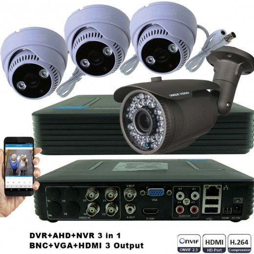 KIT3-HD/ 1xDVR 4 canale AHD-L MHK-1104HV-  1X camera AHD 720P(1MP) model UV-AHDBX708 de exterior cu lentila reglabila 2.8-12 mm 3 X camere AHD 720P(1MP) model UV-AHDDX314 de interior