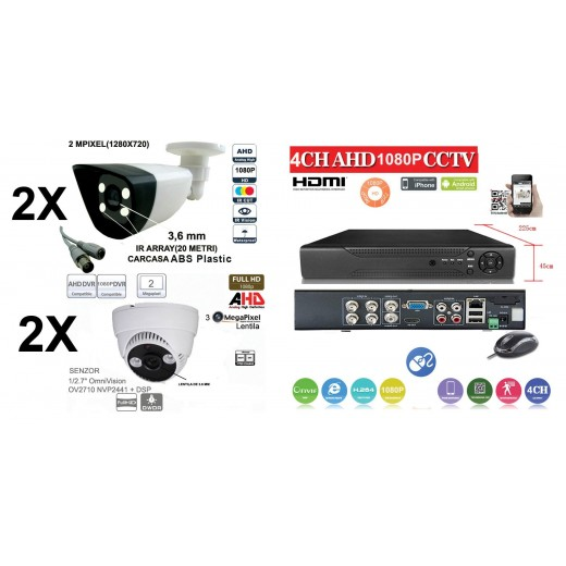 KIT46HD/  1xDVR 4 Canale ANALOG HD-L model AHD2004Z   2 X camere Analog HD 1080P(2MP)  model UV-AHDDP314 de interior si  2 X camere Analog HD 1080P(2MP)  model UV-AHDbp607 de interior/exterior