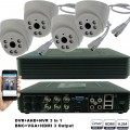 KIT4-HD/ 1xDVR 4 canale AHD-L MHK-1104HV si 4 X camere AHD 720P(1MP) model UV-AHDDX315 de interior