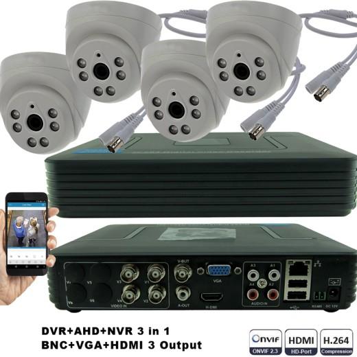 KIT4-HD/ 1xDVR 4 canale AHD-L MHK-1104HV si 4 X camere AHD 720P(1MP) model UV-AHDDX315 de interior