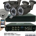KIT5-HD/ 1xDVR 4 canale AHD-L MHK-1104HV- 3Xcamere AHD 720P(1MP) model UV-AHDBX708 de exterior cu lentila reglabila 2.8-12 mm 1 X camera AHD 720P(1MP) model UV-AHDDX315 de interior