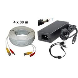 KIT-11/ Kit 4 cabluri de 30m+alimentator 14V/5A