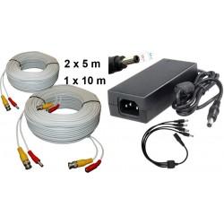 KIT-12/ Kit 1 cablu de 10 m+2 cabluri de 5m+alimentator 12V/4A