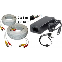 KIT-14/ Kit 2 cabluri de 5 m+2 cabluri de 10 m+alimentator 12V/4A