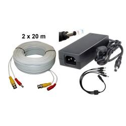 KIT-3/Kit 2 cabluri 20 m+alimentator 13V/4A