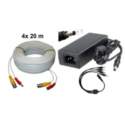 KIT-1/Kit 4 cabluri 20 m+alimentator 13V/5A