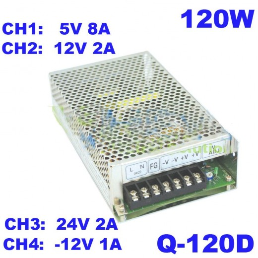 Q-120D/ SURSA ALIMENTARE TIP OPEN FRAME MULTITENSIUNI: -12V-1A, 12V-2A, 5V-8A, 24V-2A