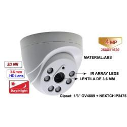 UV-AHDDU315/ Cameră de supraveghere tip Dome AHD (4 Mpixeli) de interior pentru 20 metri pe timp de noapte și lentilă fixă de 3,6 mm