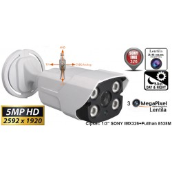 UV-HDBG909/ Cameră de supraveghere  4 în 1 AHD/TVI/CVI/CVBS  (5 Mpixeli) de exterior pentru 50 metri pe timp de noapte cu cipset Sony