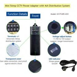 UV-P1205-4CH/ Alimentator de tensiune cu distribuitor 12V/5A pentru 4 canale video independente și tensiune reglabilă între 11,8-15V
