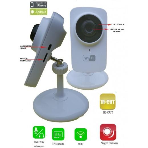WFS1/ Mini  IP Wireless Camera H.265 cu inregistrare pe card SD( pana la o luna) cu audio