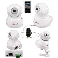 APM-J011/Camere supraveghere cu functie internet, pan& tilt, infrarosu si audio(duplex) de interior/culoare alba Suporta vizualizarea directa pe telefoane mobile cu 3G
