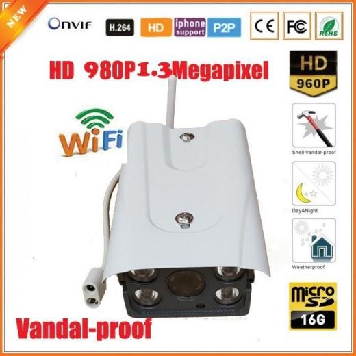 WFQU03/ Cameră de supraveghere cu IP wireless la 1,4 Mpixeli cu card de memorie de 16G încorporat